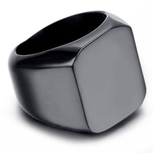 Black Fashion Men's High Polished Signet Solid 316L Stainless Steel Biker Ring Men's Jewelry | akolzol