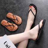 Women Beach Flip Flops 2020 Summer Flat Shoes Woman Slip On Sandals Non-slip Sole Solid Color Female Fashion Flip Flop Slides | akolzol