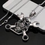 Stainless steel jewelry Titanium steel wrench pendant men's personality punk skull pendant accessories | akolzol