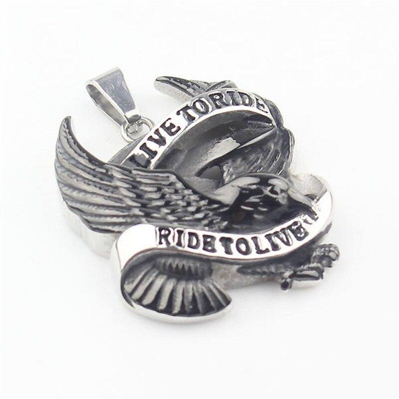 Punk Cool Men's Black & Silver color Live to Ride Hawk Eagle 316L Stainless Steel Pendant | akolzol