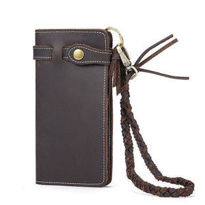 Pure Handmade Crazy Horse Leather Long Men Wallets Vintage Anti-theft Purse Natural Genuine Cow Leather Men Clutch Bag (Coffee) | akolzol