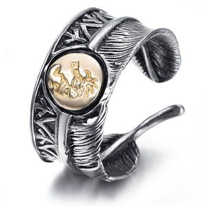 New Fashion Titanium Steel Ring Men's Feather Ring | akolzol