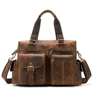 "Vintage Crazy Horse Leather Men Handbags Multi Pockets 15"" Laptop Bag Small Short Trip Genuine Leather Men's Travel Bags (coffee travel bag) 