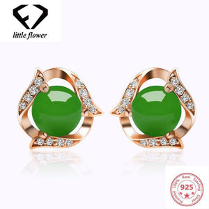 14K Rose Gold Green Chalcedony Earrings Green Hetian Jade Earring Women Diamond Agate Stud Jewelry Geometric peridot Gemstone | akolzol