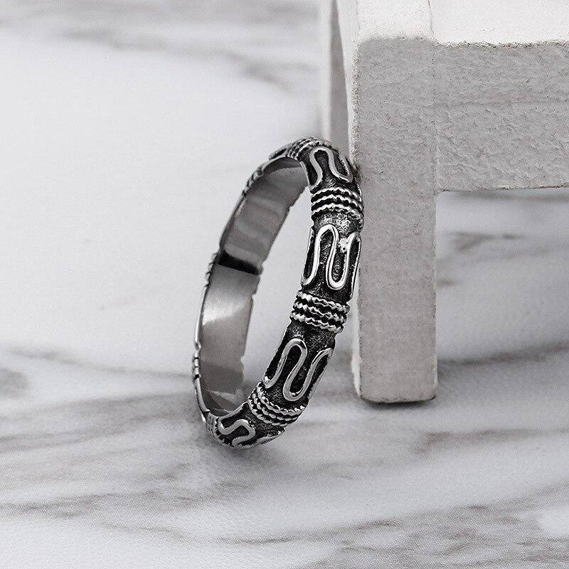 Fashion retro style men's ring ring magic spell ring punk personality Monkey King stick ring couple | akolzol