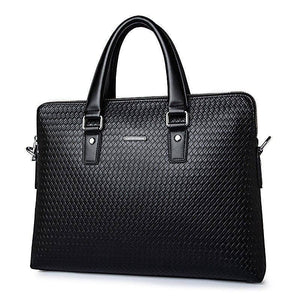 New Luxury Genuine Leather Business Men's Briefcase Woven pattern Shoulder Bag Cowhide Men's Messenger Bag Tote Laptop Handbag | akolzol