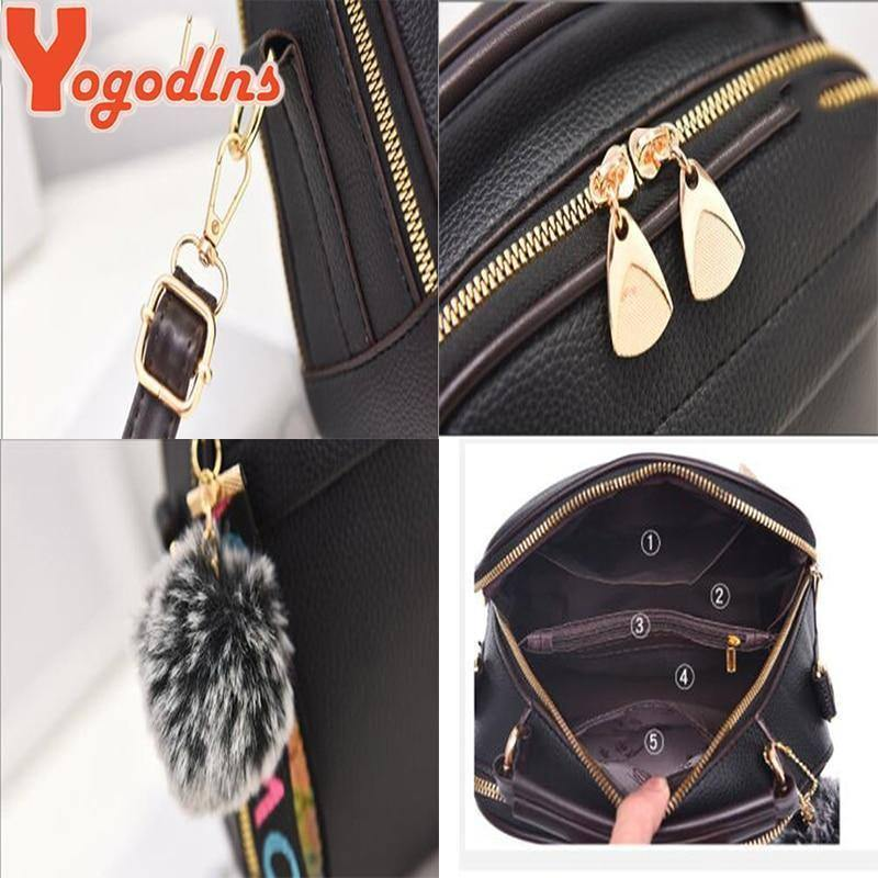 Yogodlns Fashion high quality PU Leather Shoulder Bags for Women Solid color feminina Hair ball ornaments crossbody bag | akolzol
