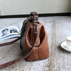 Vintage Small Pu Leather Crossbody Bags for Women Fashion Pendant Design Shoulder Handbag Trending Female Top-Handle Tote | akolzol