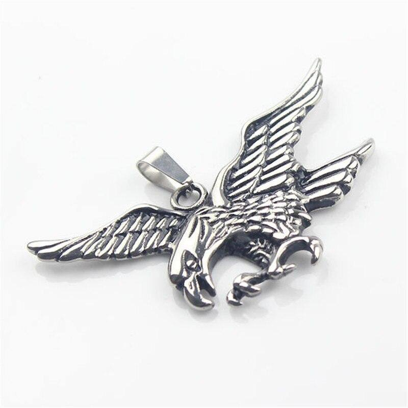 Unisex Men Women Silver color 316L Stainless Steel Eagle Biker Pendant | akolzol
