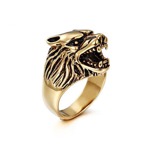 Europe and the United States stainless steel ring men domineering wolf head ring | akolzol