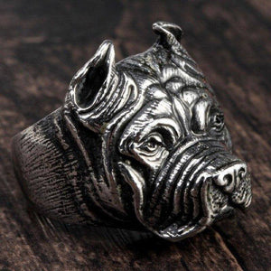 Mens Boy Punk Pitbull Bulldog Animal Silver color 316L Stainless Steel Ring | akolzol
