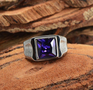 Men's 316L Stainless Steel Square Black  Stone Gem Silver color Ring | akolzol
