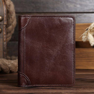Vintage 100% Natural Genuine Leather men wallets Short Vertical designer Purses Soft Oil wax Cowskin wallet | akolzol