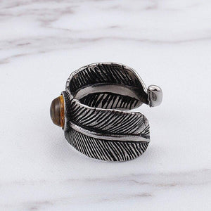 Titanium Steel Men's Ring  retro feather ring birthday gift | akolzol