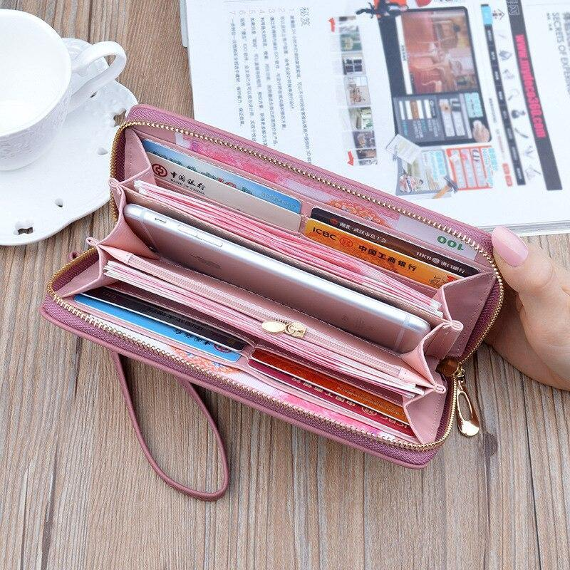 Leather women's wallet New cute Love color hollow large capacity Purses women Solid color purses Long Love zipper female wallet | akolzol