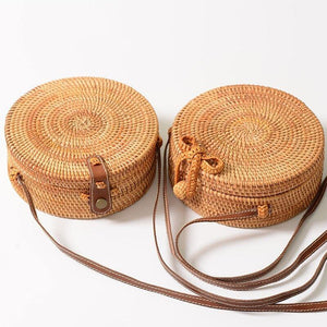 Round Straw Bag Luxury Handbags Designer Summer Beach Bags Woven Handmade Bowknot Leather Women Shoulder Crossbody Handbag Boho | akolzol