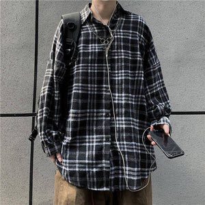 Spring Cotton Plaid Shirt Men's Fashion Retro Casual Shirt Men Streetwear Korean Loose Oversized Long Sleeve Shirts Mens M-XL | Casual, Cotton, Fashion, Korean, Long, Loose, man fashion, Men, Men Shirt, Mens, MXL, Oversized, Plaid, Retro, Shirt, Shirts, Sleeve, Spring, Streetwear | akolzol