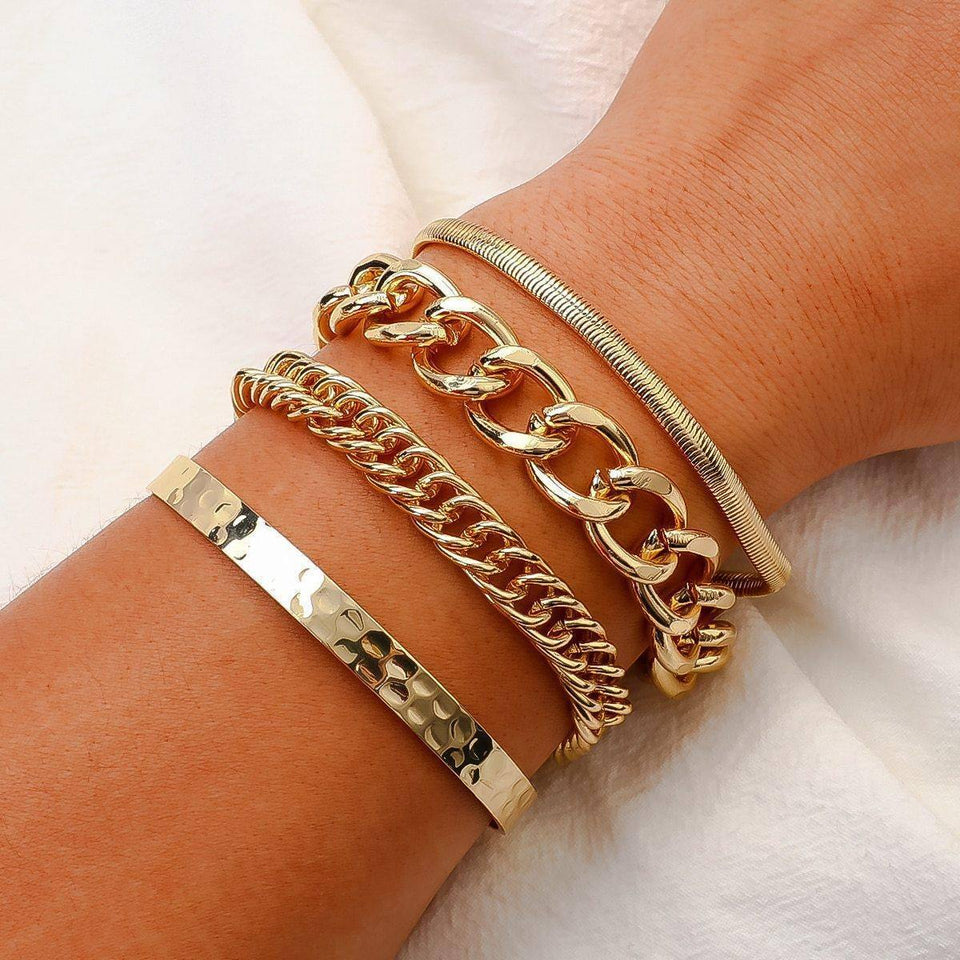 New 4pcs/set Punk Chunky Multilayer Thick Chain Bangle Bracelets Set Women Male Fashion Gold Color Set Hot Jewelry | Bangle, Bracelets, Chain, Chunky, Color, Fashion, Flashbuy, Gold, Hot, Jewelry, Male, Multilayer, New, pcsset, Punk, Set, Thick, Women | akolzol