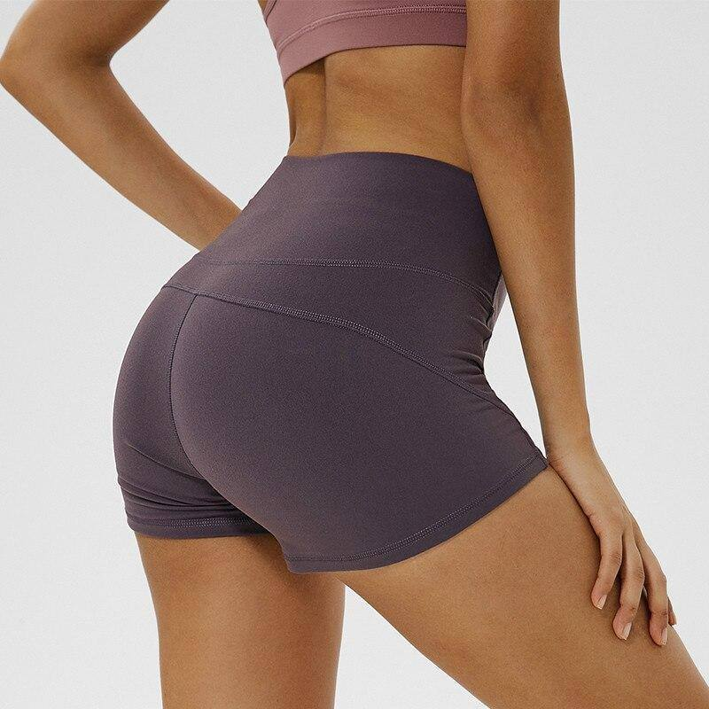 Soft Nylon Fitness Jogger Shorts Women High Waist Solid Sport Workout Shorts Slim Tummy Control Gym Athletic Shorts | akolzol