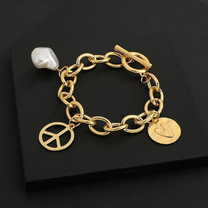 New Desgin Gold Color Charm Bracelets for Women Pearl Metal Ball Peace Sign Chunky Thick Chain Bracelet Jewelry Gift | Ball, Bracelet, Bracelets, Chain, Charm, Chunky, Color, Desgin, Flashbuy, for, Gift, Gold, Jewelry, Metal, New, Peace, Pearl, Sign, Thick, Women | akolzol