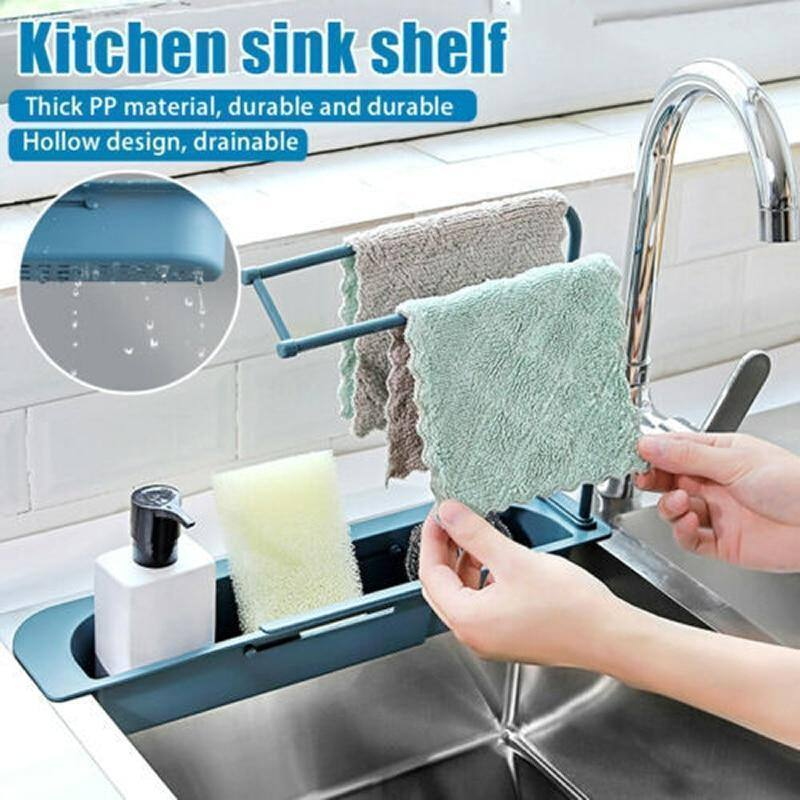 Kitchen Sink Drain Rack Creative PP Gel Drainage Rack Tableware Sponge Soap Drying Telescopic Sink Holder Storage Drain Basket | akolzol