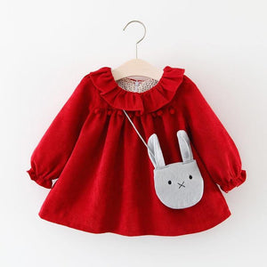 Melario Newborn Baby Dress Autumn Long Sleeve Girls Drees Solid Cotton Sweet Princess Dresses with Cute Bag Costume | akolzol