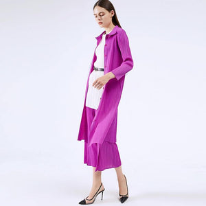 Pleated women's blazer dress 2020 Fall New Product Temperament Shirt Long Blazer Korean Style Coat | akolzol