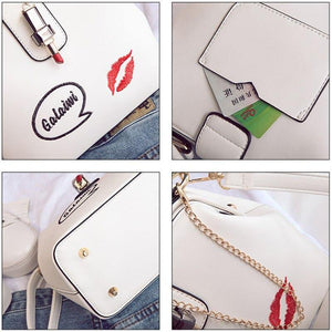 Embroideried Lipstick Design Women Handbag Pu Leather Shoulder Bags For Women Small Doctor Crossbody Bags Female Casual Totes | akolzol