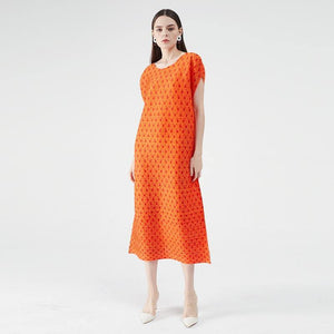 Miyake pleated orange polka Fireflies dots summer dress 2020 lace korean casual dress boho loose plus size dress dropshipping (Orange) | akolzol