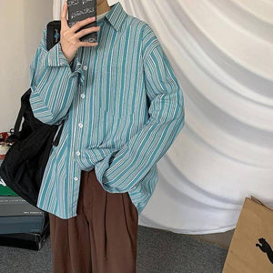 Spring Autumn Cotton Striped Shirt Men's Fashion Retro Casual Shirt Men Streetwear Korean Loose Long Sleeve Shirts Mens M-XL | Autumn, Casual, Cotton, Fashion, Korean, Long, Loose, man fashion, Men, Men Shirt, Mens, MXL, Retro, Shirt, Shirts, Sleeve, Spring, Streetwear, Striped | akolzol
