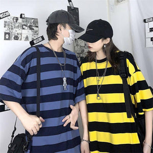 Summer Striped T Shirt Men's Fashion Contrast Cotton Casual T-shirt Men Streetwear Wild Loose Short-sleeved Tshirt Couple | akolzol