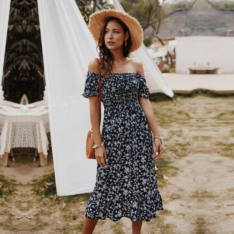 Summer Bohemian Off The Shoulder Dress Women Cotton Slash Neck Print Short Sleeve Dress 2020 New | akolzol