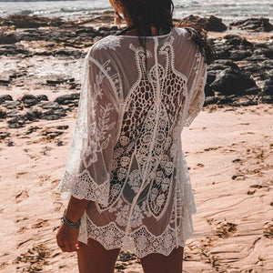 White beach dress women V-neck swimsuit cover-ups Lace kaftan tunic beach wear Lace bikini 2020 Sexy summer kimono new (X20OW1387 One Size) | akolzol