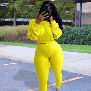 Autumn Ribbed Tracksuit Women Sets Sweat Suits 2 Piece Matching Sets Sweatsuit Ladies Club Jogger Two Piece Outfits For Women | akolzol