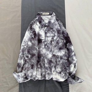 Camo Shirt Men Fashion Tie-dye Printing Casual Dress Shirt Men Streetwear Wild Loose Long-sleeved Shirts Mens M-2XL | akolzol