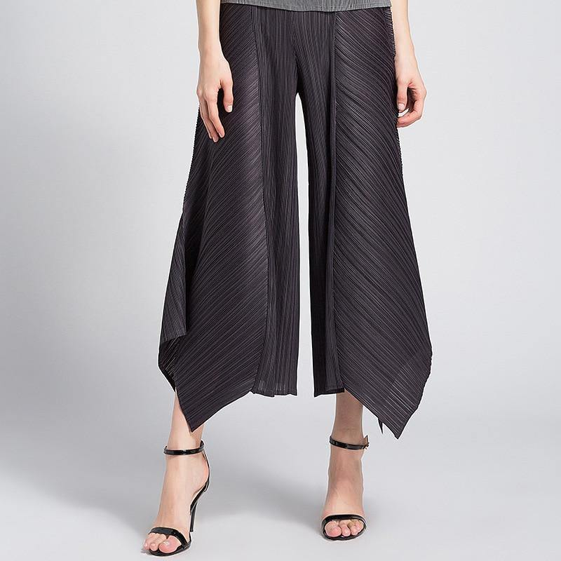 2020 Summer Women Harem bst pants Miyake pleated black irregular Lace up trousers plus size casual Baggy high waist joggers | akolzol