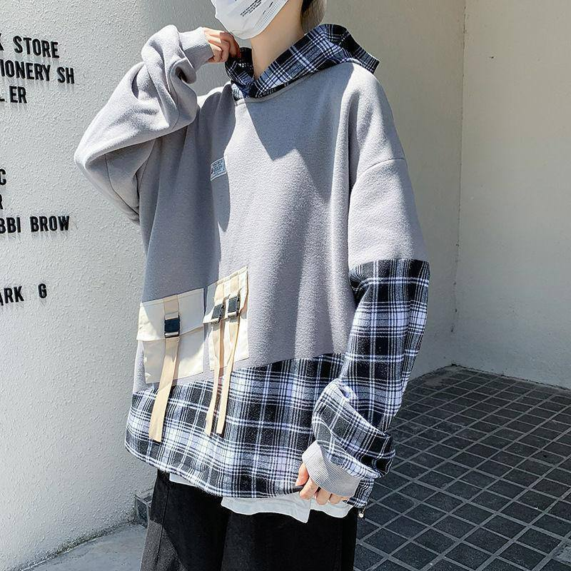 Autumn spring 2021 Plaid patchwork Hoodie Sweatshirt men's hip hop punk Pullover Street casual fashion | akolzol