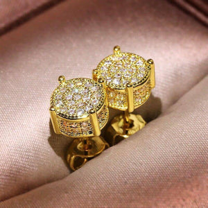 14K Yellowe Gold Earring Real Natural Diamond Jewelry for Women Aretes De Mujer Wedding Silver 925 Jewelry Garnet Stud Earrings | akolzol