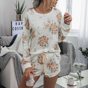 2020 Flower Print Sweat Suits Women Two Piece Set Home Ladies Tracksuits Long Sleeve Top and Pant Mini Shorts Sexy Set Sweatsuit | akolzol