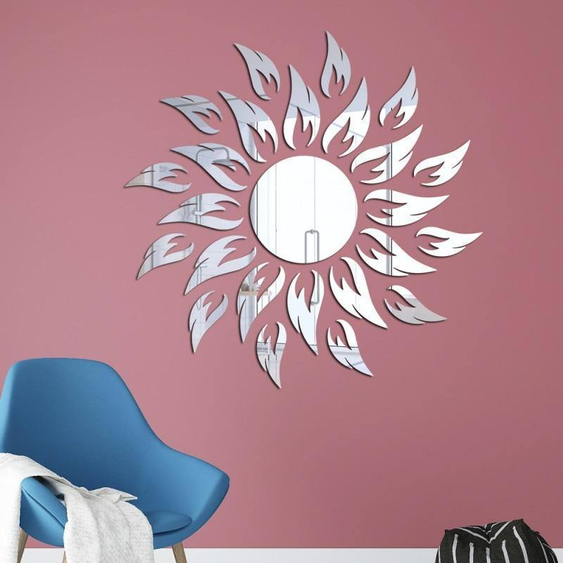 3D Mirror Wall Sticker For Home Decor Petal Round Shape Vinyl Removable Wall Stickers Art Mural Wall Decoration Ornaments | akolzol