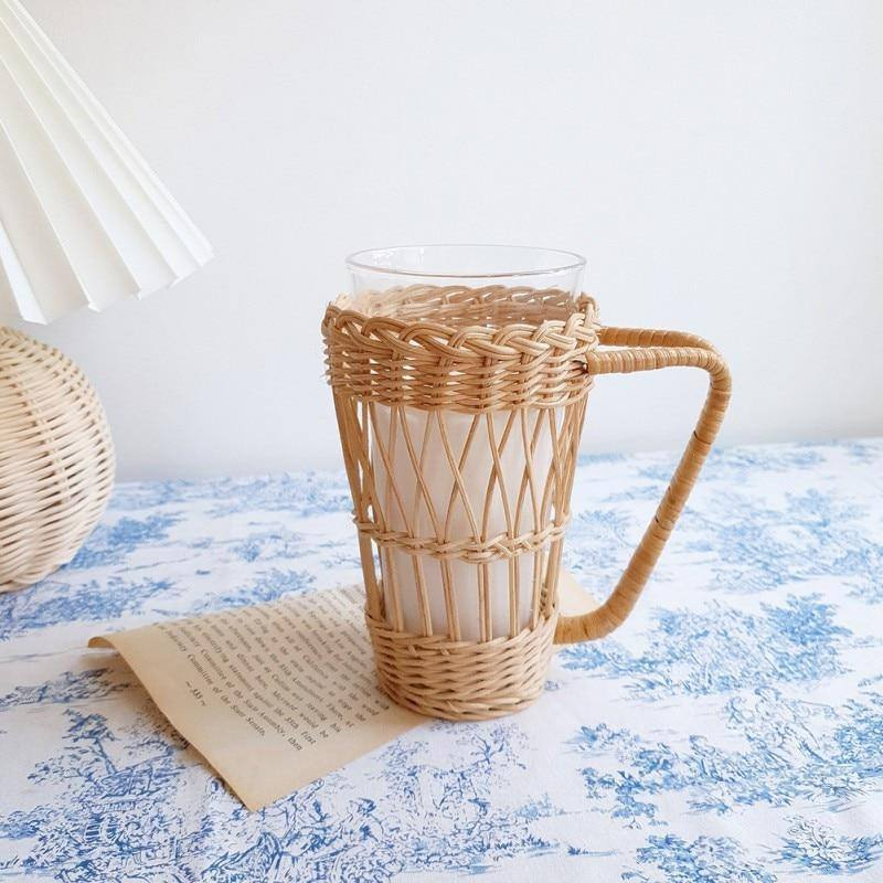 Rattan Woven Water Cup Cover Glass Anti-scald Cover Holder With Handle Protection Bottle Covers Insulation Cup Set (01) | akolzol