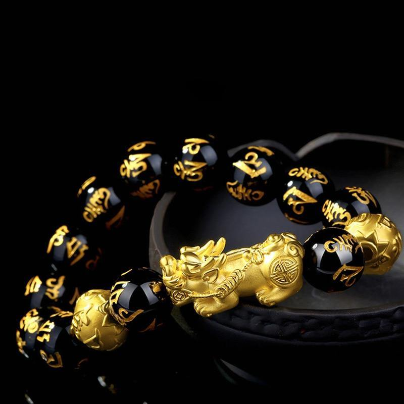 Not Fade 18K Gold Bracelets for Women Fine Bizuteria with Natural Obsidian Agate Gemstone Pulseira Feminina Bracelets for Men | akolzol
