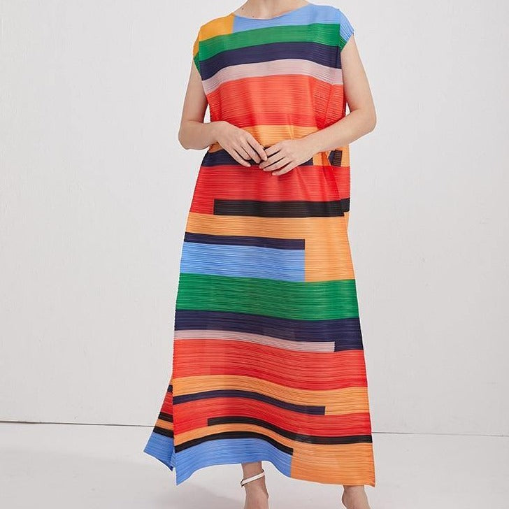 Pleated printed casual dress women summer temperament loose plus size robe ete Strip contrast elegant long dress (Photo Color One Size) | akolzol