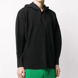 pleated top coat loose buttoned drawstring pullover casual hooded pullover sweatshirt men | akolzol