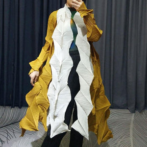 Clothes for women 2020 summer diamond pleated stitching color coat  bat sleeve cardigan trench coat for women 1024 | akolzol