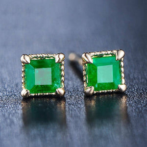 14K Gold Filled Jewelry Natural Emerald Earring for Women Oorbellen Bijoux Femme Jade Garnet Orecchini Kolczyki Gold Earrings (green Gold-color) | akolzol