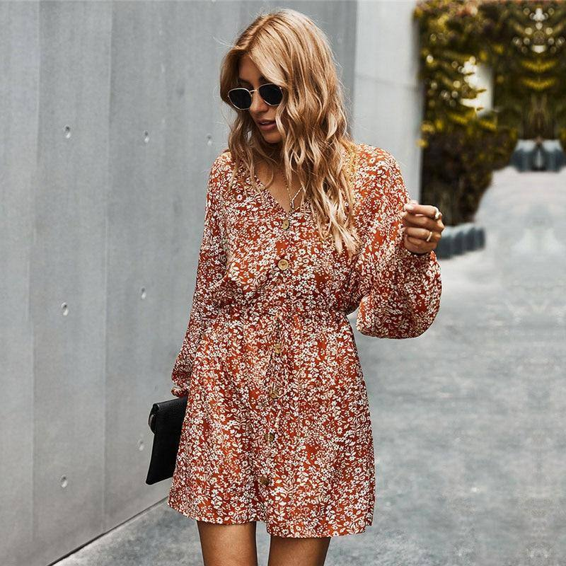 2020 New Lace Up Button Print Dress Women Autumn Winter V Neck Full Sleeve High Waist Dress Female Office Lady | akolzol