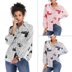2020 Loose Newspaper Shirt Feminina Letter Print Shirt Women Long Sleeve Blouse Ladies Womens Tops and Blouses | akolzol