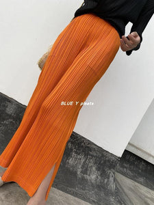 pleated pants straight pants plus size fall 2020 high waist casual big orange Ankle-Length Pants joggers Korean women (Orange One Size) | akolzol