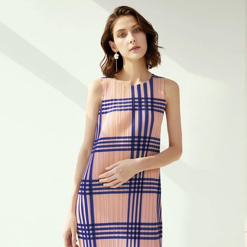 pleated plaid striped print long dresses summer 2020 plus size sleeveless vintage dress boho with hips | akolzol